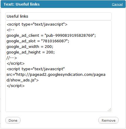 Add Google Adsense to WordPress without plugins by Web