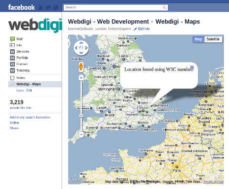 Google maps with location on Facebook iframe tabs